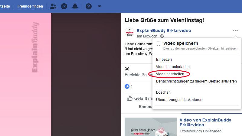 Facebook Video zum bearbeiten auswählen