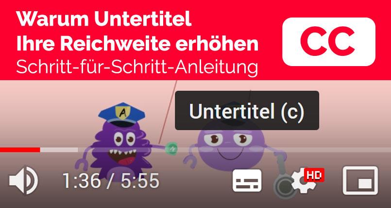Grafik eines Videoplayers mit Untertitel